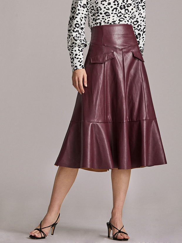 Cristina Faux Leather Midi Skirt