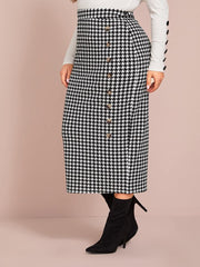 PREORDER Curvy Tanya Houndstooth Pencil Skirt