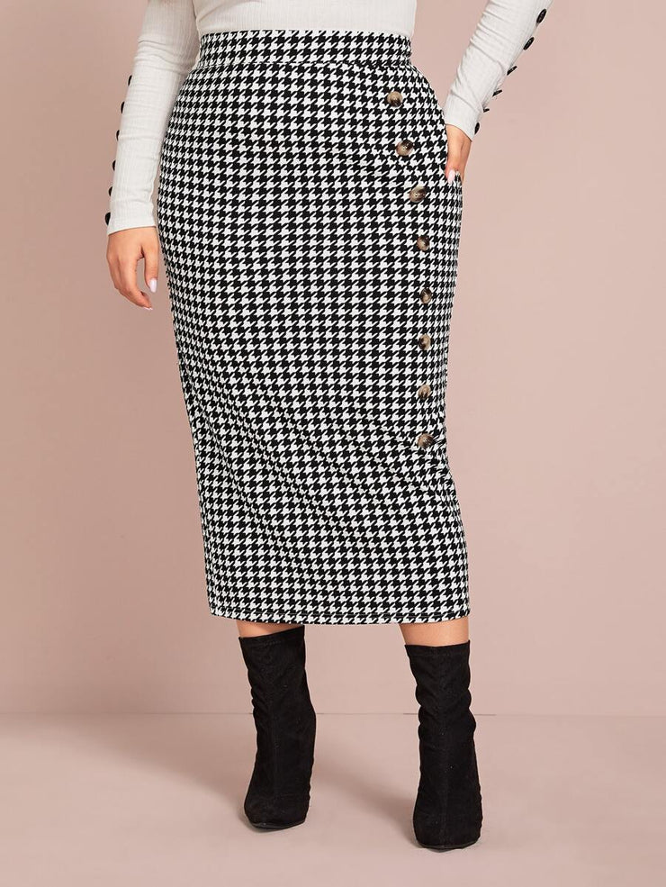 Curvy Tanya Houndstooth Pencil Skirt