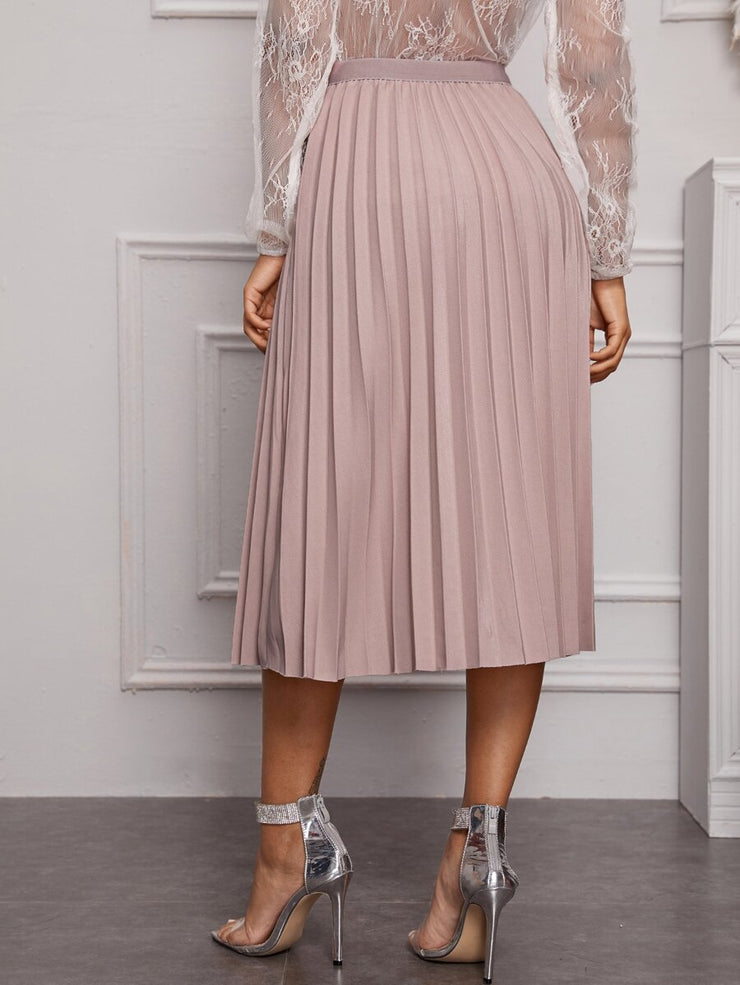 Lovely Stories Pleated Midi  Skirt