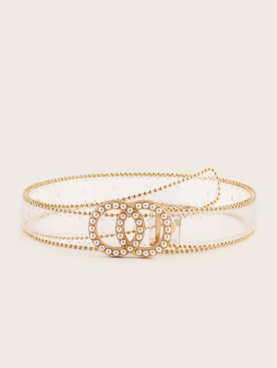 Radiant Faux pearl Transparent Belt