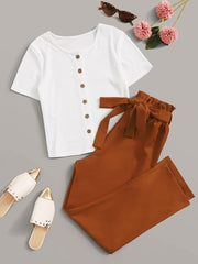 Weekend Paperbag Two-Piece Pants Set