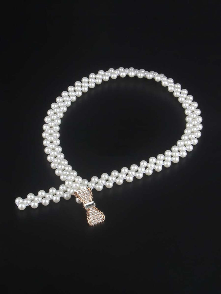 ClassyLoft Bow Stretch Pearl Belt