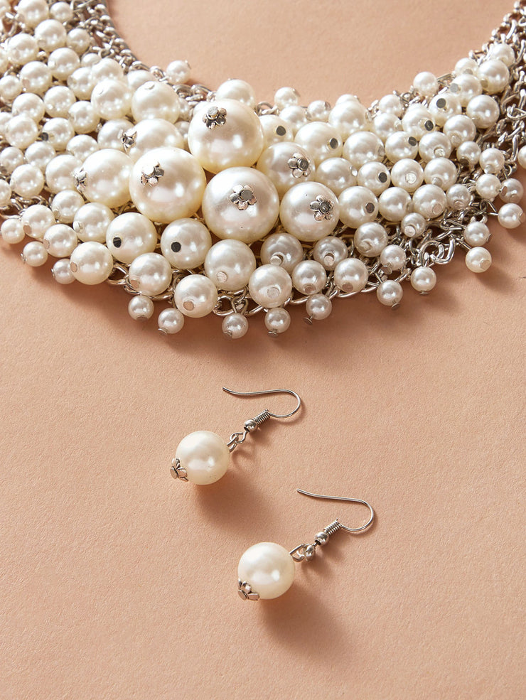 Statement Faux Pearl Necklace Set