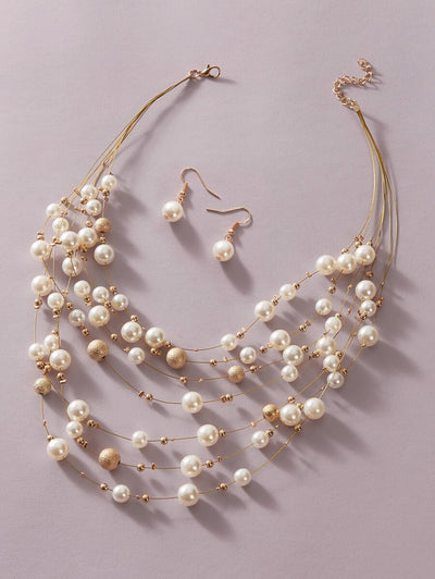 Details Faux Pearl Necklace Set