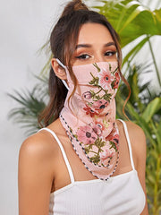Pink Bloom Scarf Face Mask