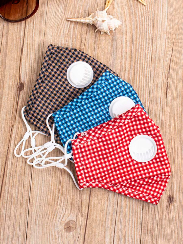 Gingham Valve Face Mask with Filter