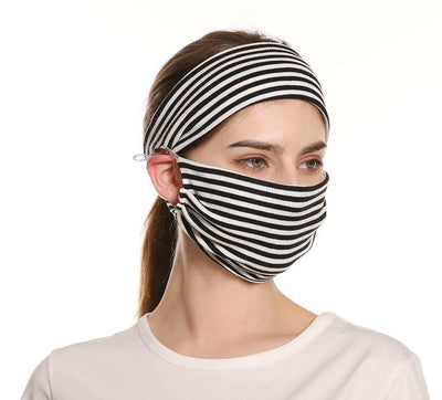 Striped Face Mask with Matching Headband