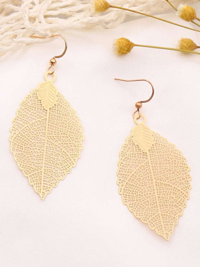Feather Golden Tone Earrings