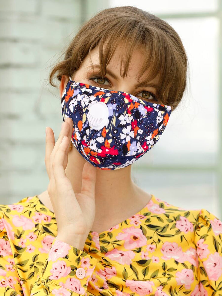 Floral Valve Face Cover with filter