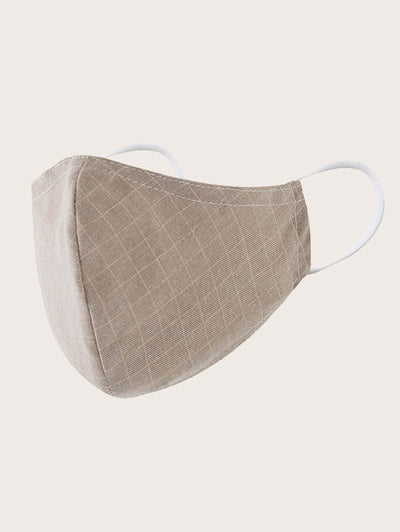 Neutral Plaid Face Mask - 2 pcs