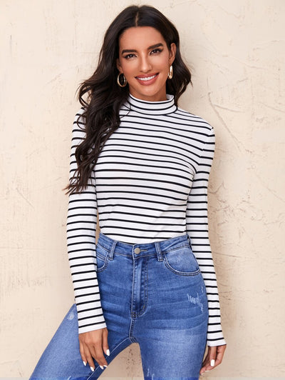 Trending Striped Mock Neck Top