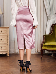 Soft Touch Satin Pink Skirt