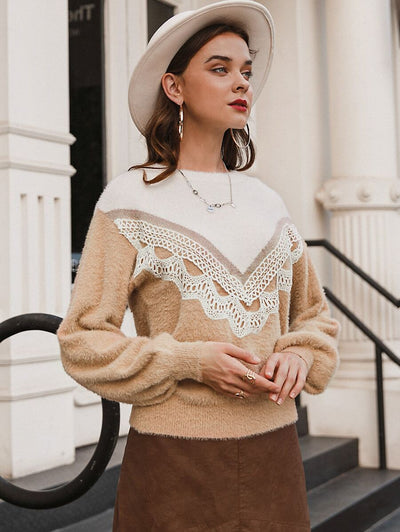 Hold My Hand Lace Trim Sweater