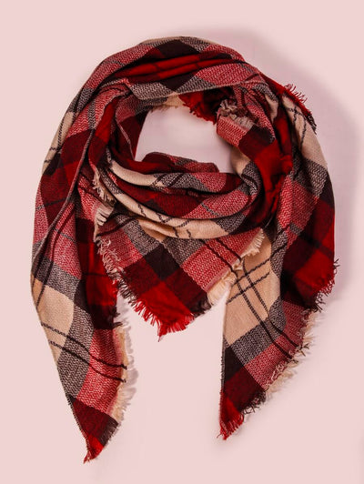 Comfort Red Plaid Scarf