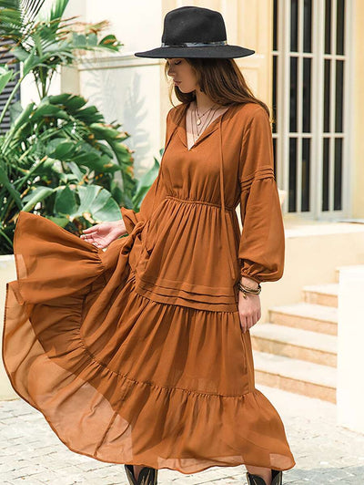 Emma Boho Tiered Rusty Maxi Dress