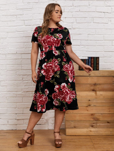Curvy Rose  Midi Dress