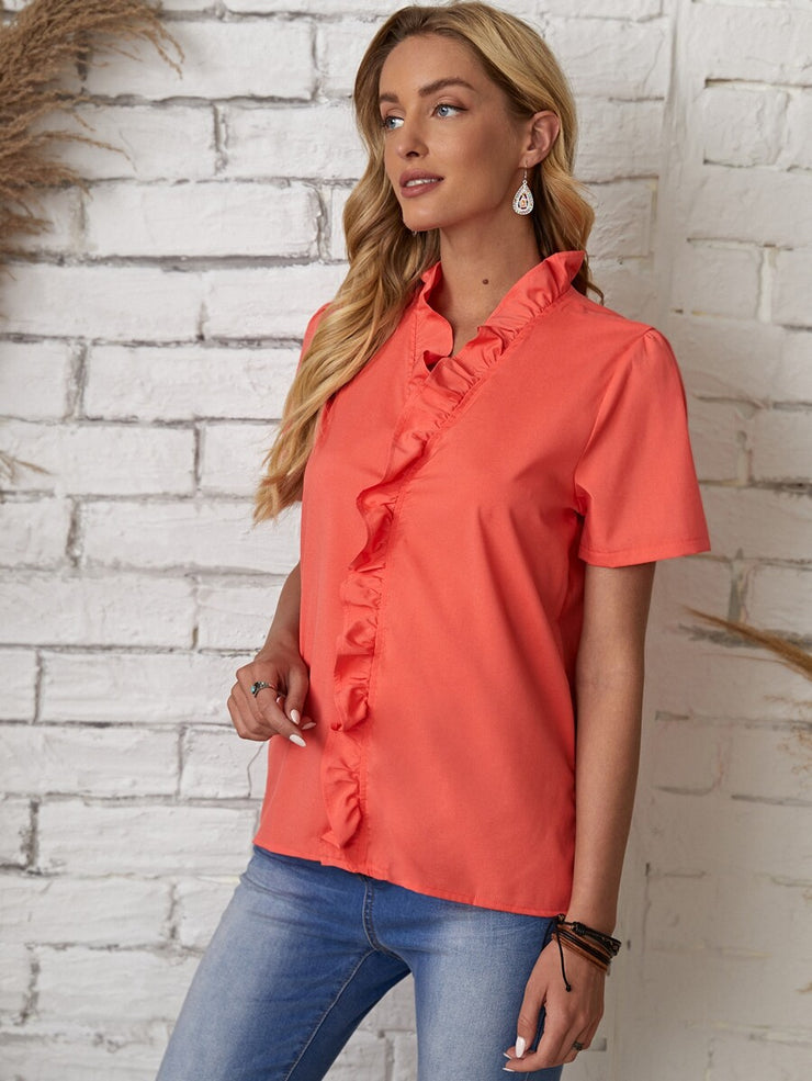 Stay Cheerful Ruffled Blouse Top
