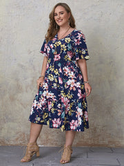 Curvy After Sunset Floral  Midi Dress