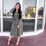 For the Love of Stripes Belted Midi Dress