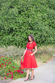 La Vita in Rosso Retro Dress