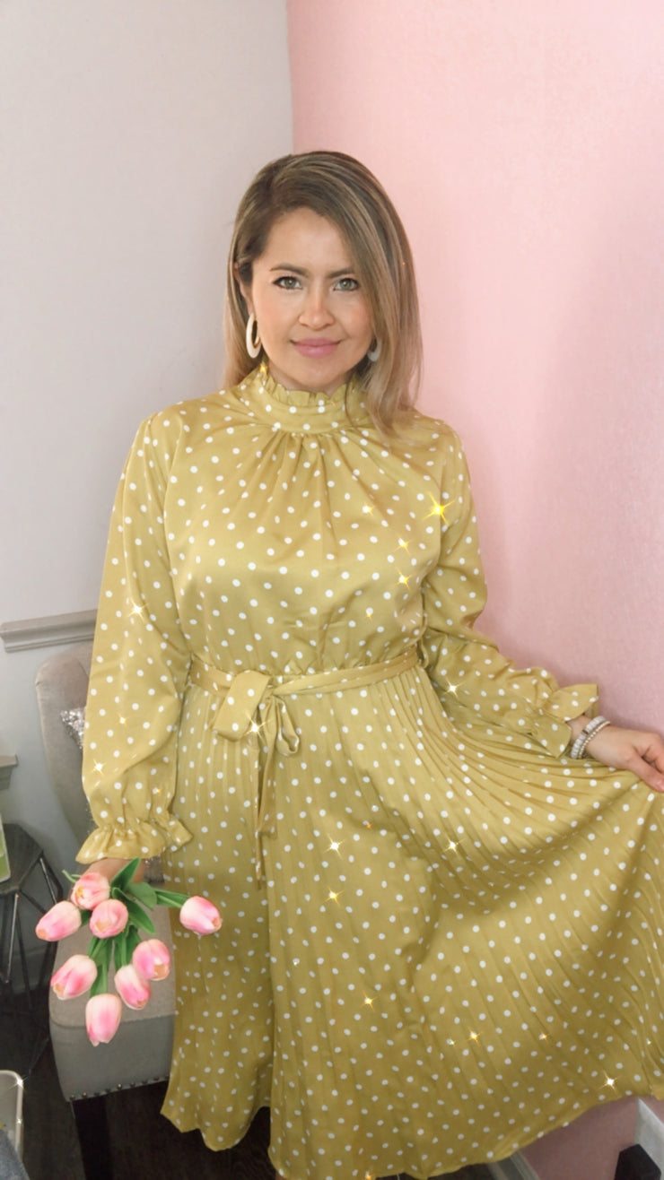 Major Wow Polka Dots Midi Dress-Yellow
