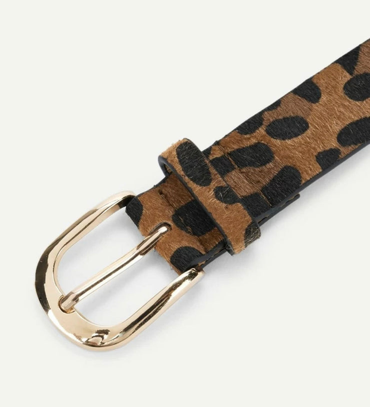 Leopard Print Buckle Belt