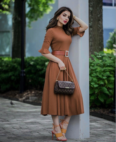 Beyond Hazelnut Knit Midi Dress