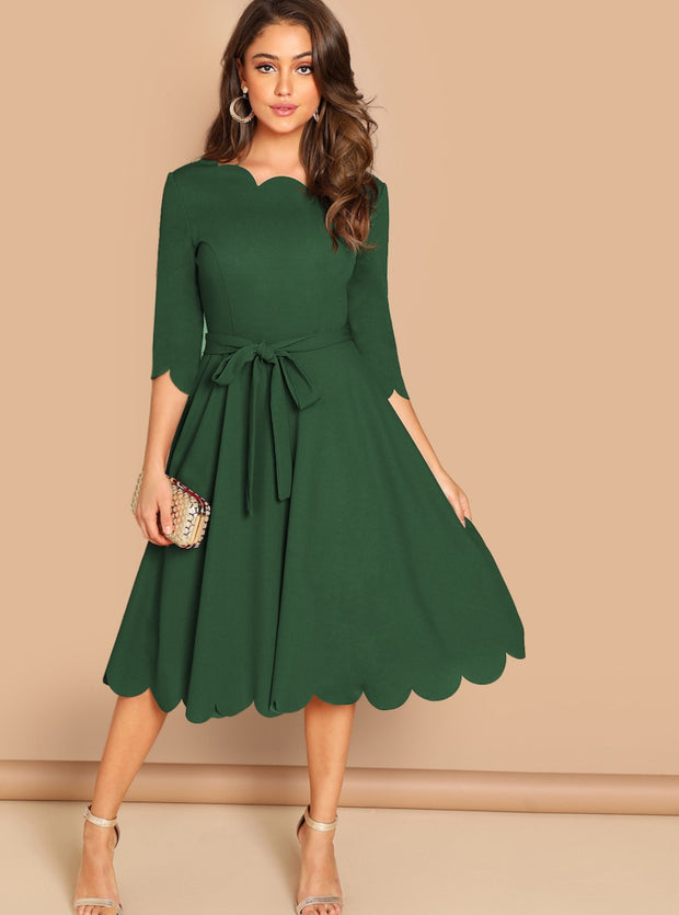 Sweet Life Scalloped Midi Dress