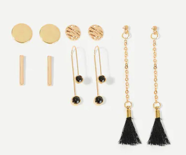 Bar and Tassel 5-pc stud earrings set