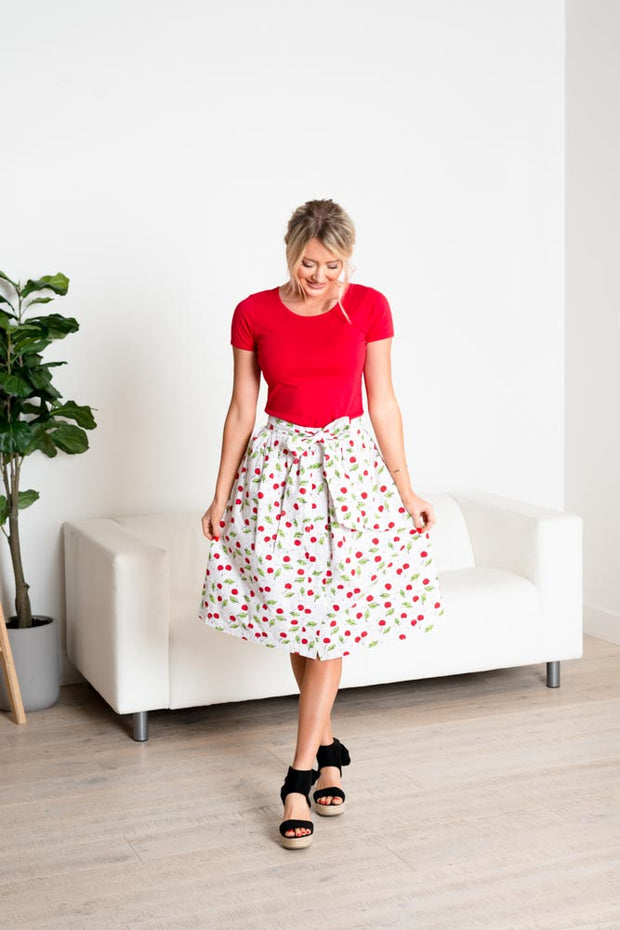 Cherry Perfect Midi Skirt