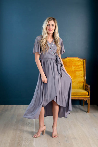 Darlene Wrap Embroidered Midi Dress