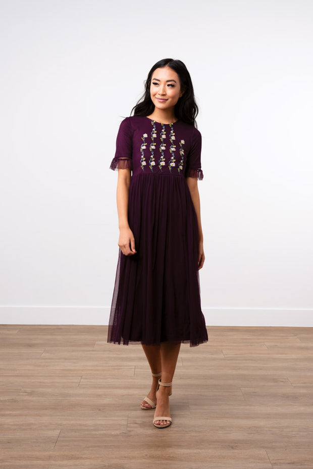 Love at First Embroidered Tulle Dress