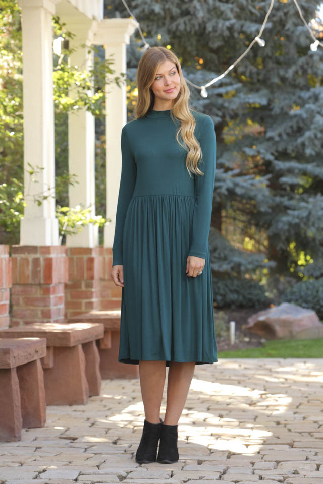 Paulina Forest Green Midi Dress