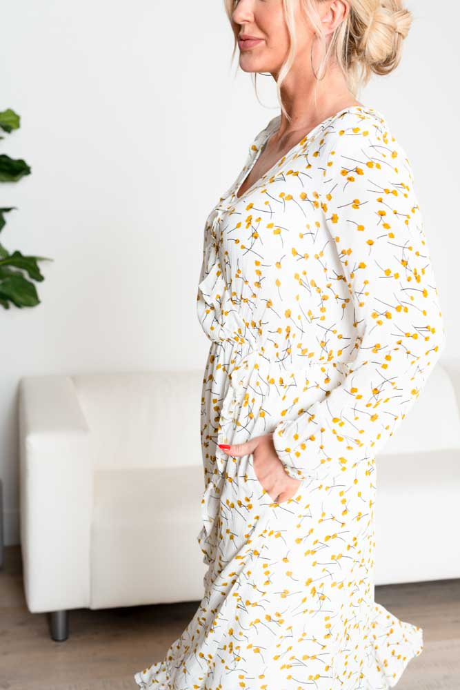 Luna Floral Wrap Midi Dress