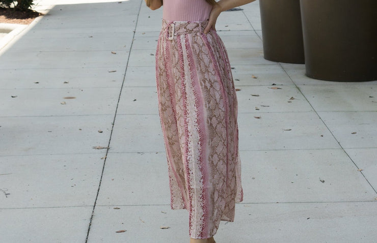 Pink Snake Pleated Skirt