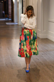 Something Fun Watercolor Midi Skirt