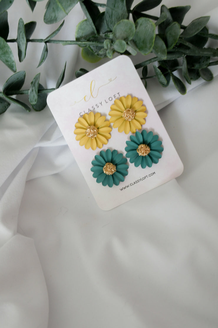 Sunflower 2 pairs Stud  Earrings