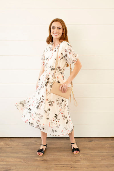 Benita Cream Floral Midi Dress