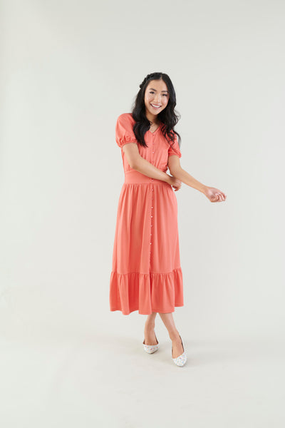 Darling Delight Salmon Midi Dress