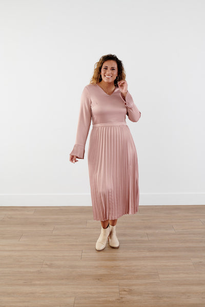 Twirl Around Pleated Midi Dress