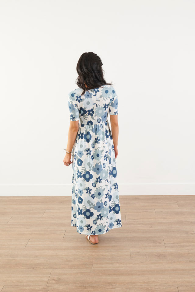 All I Need Blue Floral Maxi Dress
