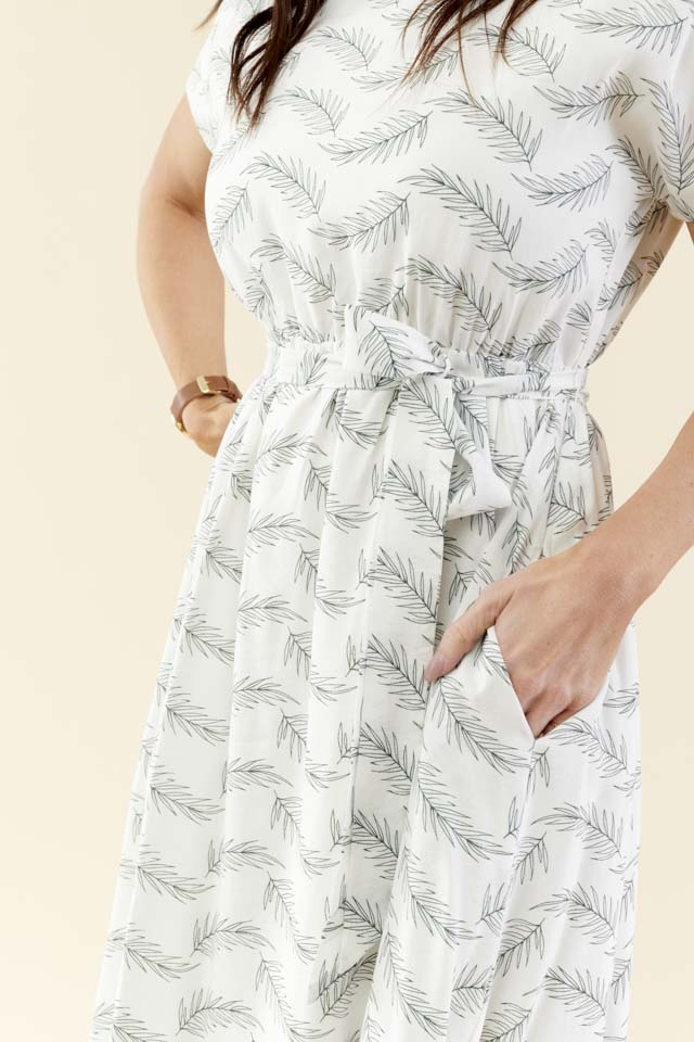 Be-Leaf Printed Midi Dress