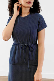 Casual Gathering Striped Midi Dress