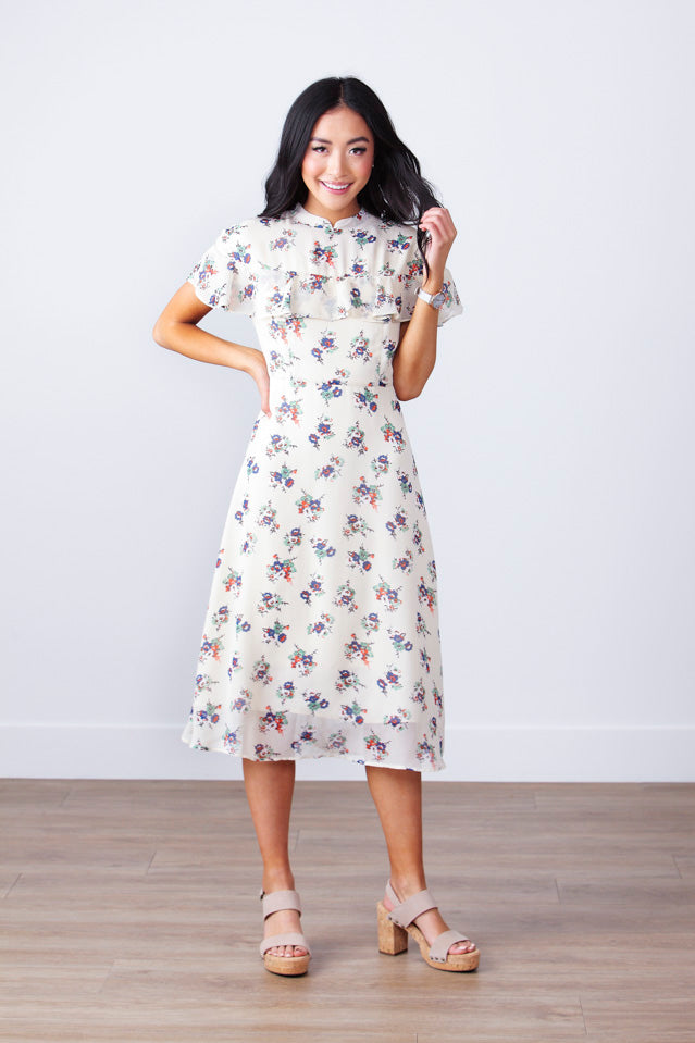 Korean Style Floral Ruffle Midi Dress