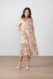 Darla Floral Ruffle Midi Dress