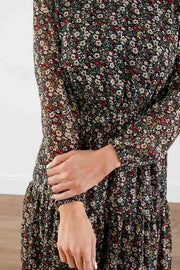 All Sweet Tiered Floral Midi Dress