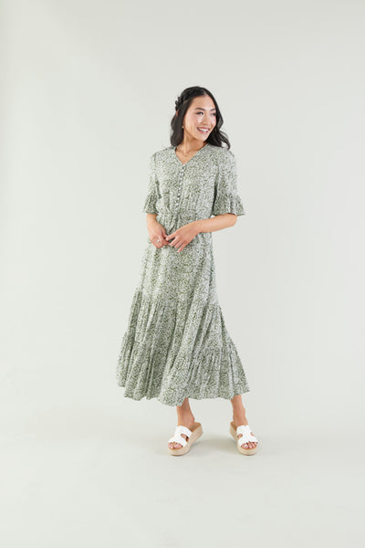 Naturally Beautiful Floral Tiered Dress- Green