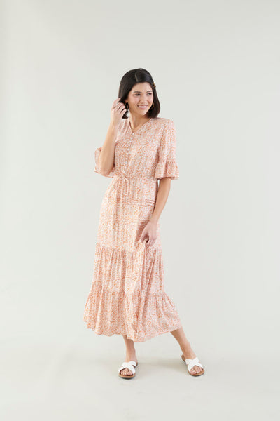 Naturally Beautiful Floral Tiered Dress- Orange
