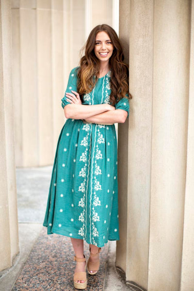 Lily Embroidered Turquoise Midi Dress